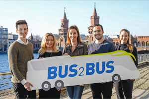 BUS2BUS 2019- Media Preview 2018 -Björn Fedder, Chief of Staff to CEO at Wunder Mobility; Kerstin Kube-Erkens, Senior Produktmanagerin, Messe Berlin; Christiane Leonard, Hauptgeschäftsführerin, Bundesverband Deutscher Omnibusunternehmer; Pascal Blum, Gründer, unu; Johanna Schelle, MotionTag, Communications & Business Development (v.l.n.r.) Bild: Messe Berlin / Volkmar Otto