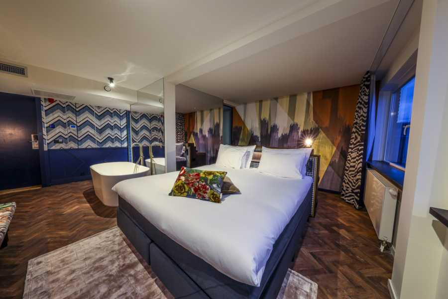 Das Hotel Haarhuis in Arnhem, Niederlande, hat sich als erstes Haus in der Beneluxregion für die WorldHotels Crafted Collection entschieden. Im Bild: eine der Design-Suiten des 127-Zimmer-Hotels. (Foto: BWH Hotel Group)